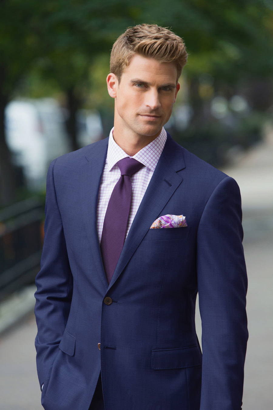 Mens Navy Suit White Check Dress Shirt Dark Purple Tie Purple
