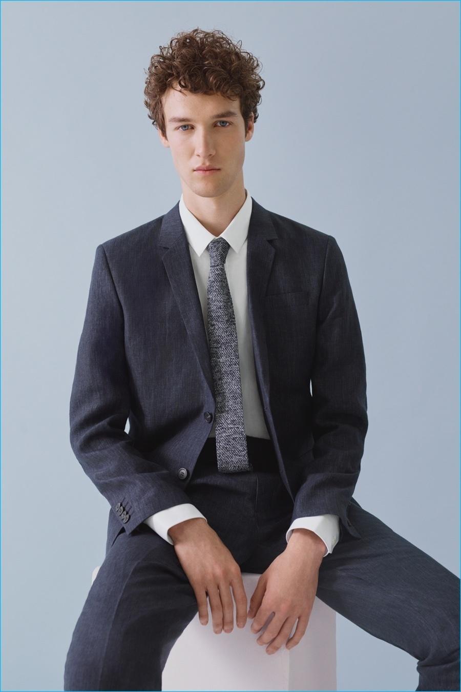 Mens Navy Suit White Dress Shirt Grey Knit Tie Mens Fashion