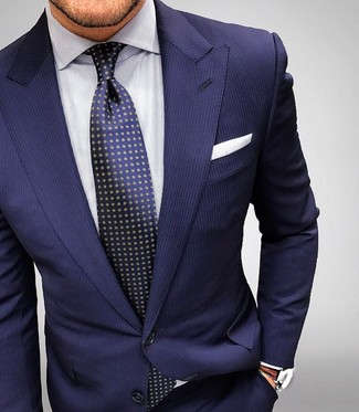 Men's Navy Vertical Striped Suit, White Vertical Striped Dress Shirt, Navy Polka Dot Tie, White Pocket Square