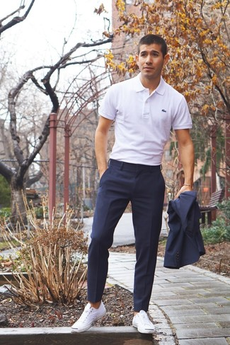 How to wear: navy suit, white polo, white canvas low top sneakers