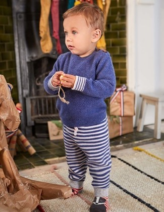 How to Wear a Sweater For Boys: People will swoon over your little angel if he wears this combo of a sweater and navy horizontal striped sweatpants.