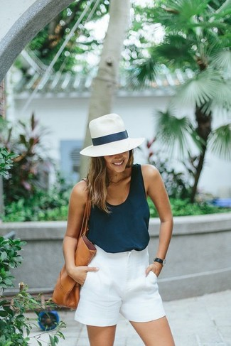 How to wear: navy tank, white shorts, tan leather tote bag, white straw hat