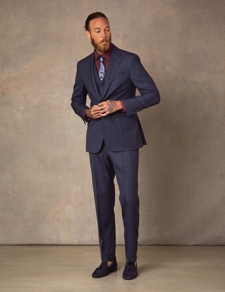 How to Wear a Navy Floral Tie For Men: Team a navy three piece suit with a navy floral tie for truly stylish style. Introduce navy suede tassel loafers to the equation to make the look more fun.