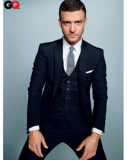 Justin Timberlake wearing Navy Three Piece Suit, White Dress Shirt ...