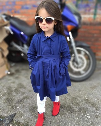 How to wear: navy trench coat, white jeans, red boots, white sunglasses