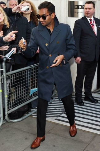 How to wear: navy trenchcoat, black long sleeve shirt, black dress pants, brown leather tassel loafers