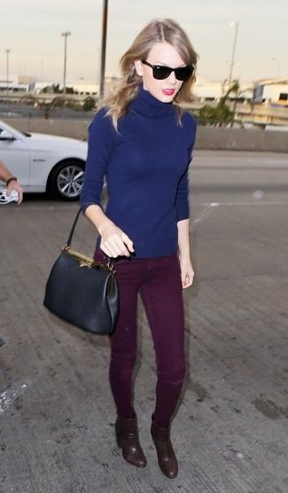 Navy turtleneck burgundy skinny jeans brown ankle boots black tote bag large 1071