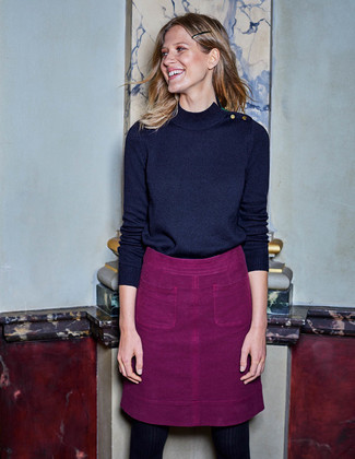 How to wear: navy turtleneck, purple a-line skirt, black tights