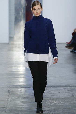 2b13e46bbff ... Women s Navy Knit Wool Turtleneck