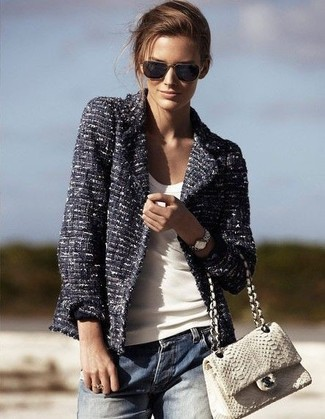 Women's Navy Tweed Jacket, White Tank, Blue Boyfriend Jeans, White Snake Leather Satchel Bag