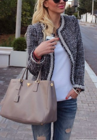 How to wear: navy tweed jacket, white v-neck t-shirt, blue ripped jeans, grey leather tote bag