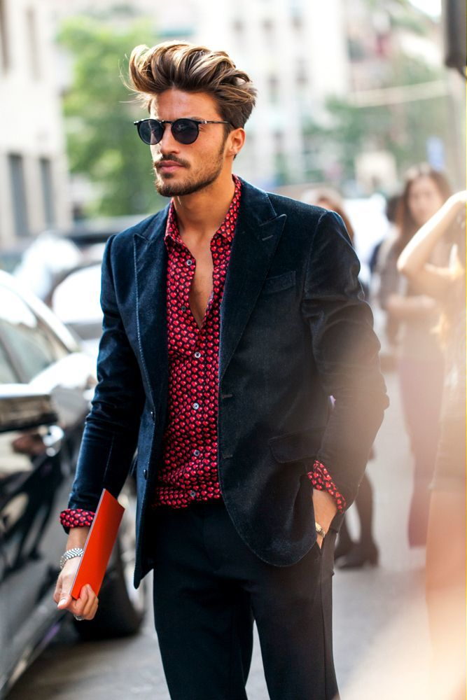 Blazer suggestions for a red shirt