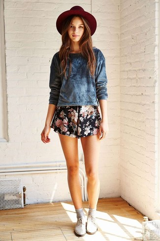 1306f15a294f0e How to wear: navy velvet crew-neck sweater, black floral shorts, burgundy