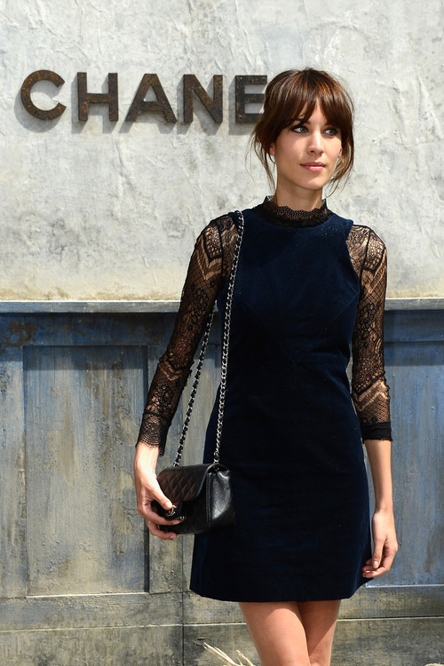 Alexa Chung Wearing Navy Velvet Party Dress And Black