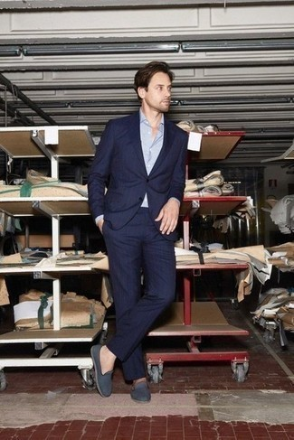 Dress Shirt Outfits For Men: This combination of a dress shirt and a navy vertical striped suit is a winning option when you need to look really dapper and refined. Navy canvas loafers serve as the glue that pulls your ensemble together.