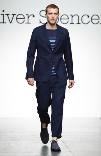 Consider Wearing A Navy Blue Vertical Striped Suit And Dark Crew Neck
