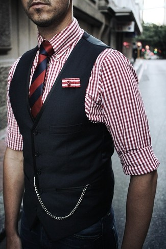 Try pairing a navy waistcoat with dark blue jeans for a sharp classy look.