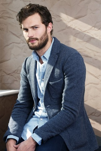 Jamie Dornan wearing Navy Wool Blazer, White and Blue Gingham Long Sleeve Shirt, Navy Jeans