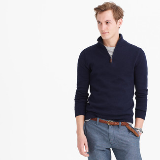 How to wear: navy zip neck sweater, grey crew-neck t-shirt, blue dress pants, brown woven leather belt