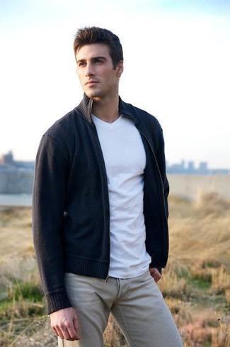 How to wear: navy zip sweater, white v-neck t-shirt, beige chinos