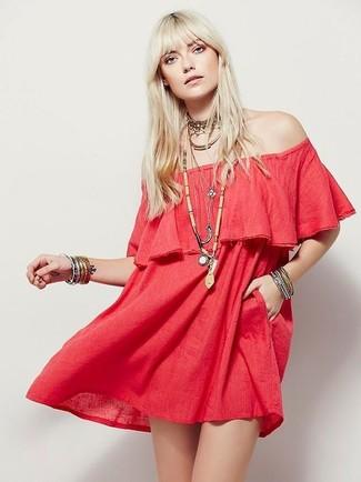 How to wear: red off shoulder dress, gold choker, silver bracelet, beige beaded pendant