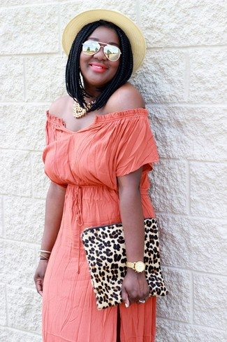 Women's Orange Off Shoulder Dress, Beige Leopard Suede Clutch, Beige Straw Hat, Gold Necklace