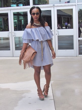 Pair a light blue off shoulder dress with a Lanvin women's Gunmetal Tone for comfortdressing from head to toe. Why not introduce tan leather heeled sandals to the mix for an added touch of style? This combination is everything for extremely hot warm weather days.