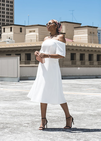 How to wear: white off shoulder dress, black leather heeled sandals, gold clutch, pink print silk scarf