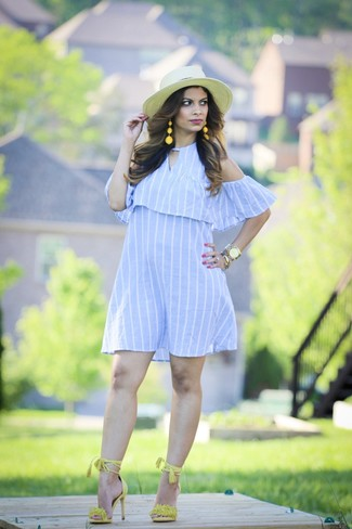 How to wear: light blue vertical striped off shoulder dress, green-yellow suede heeled sandals, beige straw hat, gold watch