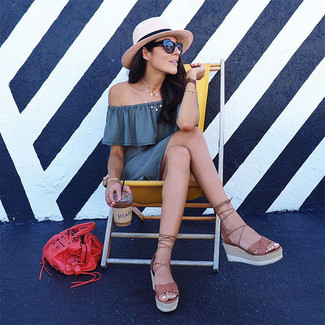 How to wear: grey off shoulder dress, brown leather wedge sandals, red leather tote bag, beige straw hat