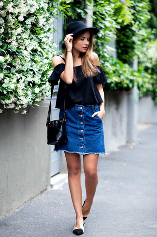 How to wear: black off shoulder top, blue denim button skirt, black and white leather ballerina shoes, black leather crossbody bag