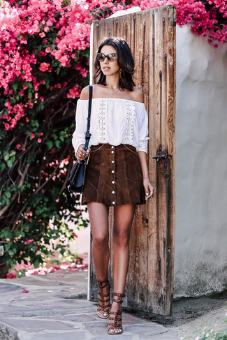How to wear: white embroidered off shoulder top, dark brown suede button skirt, dark brown studded leather heeled sandals, black leather crossbody bag