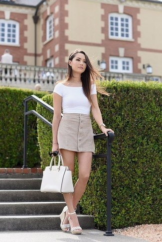 How to wear: white off shoulder top, beige button skirt, white leather wedge sandals, white leather satchel bag