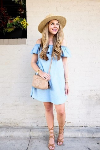 How to wear: light blue denim off shoulder top, tan suede gladiator sandals, beige leather crossbody bag, beige straw hat