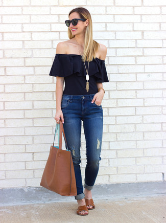 How to wear: black ruffle off shoulder top, blue ripped jeans, brown leather flat sandals, brown leather tote bag
