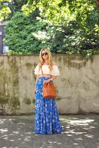 How to wear: beige off shoulder top, blue floral maxi skirt, tobacco leather bucket bag, dark brown sunglasses