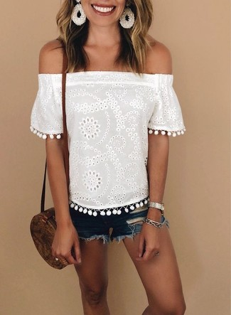 How to wear: white eyelet off shoulder top, blue ripped denim shorts, brown leather crossbody bag, silver watch