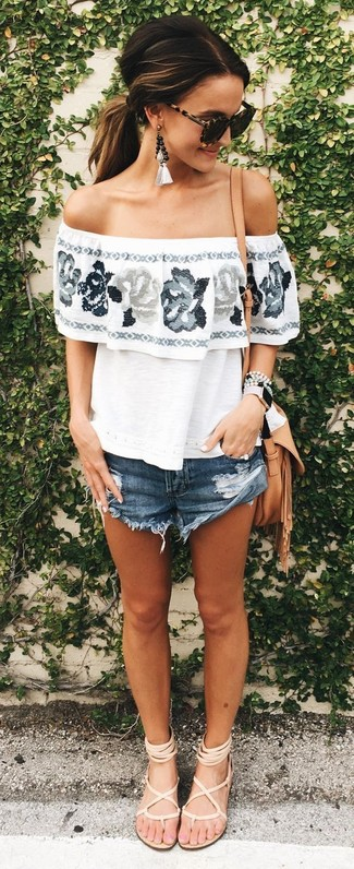 How to wear: white floral off shoulder top, navy denim shorts, beige leather gladiator sandals, tan leather crossbody bag