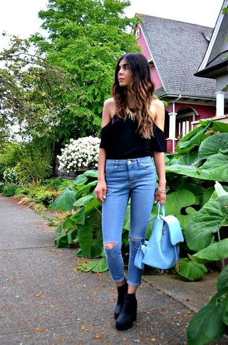 Petite Whitby Low Rise Skinny Jeans In Maxim Blue With Displaced Ripped Knees