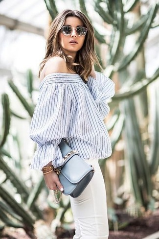 86123f9bd3c ... Women's White and Navy Vertical Striped Off Shoulder Top, White Skinny  Jeans, Light Blue