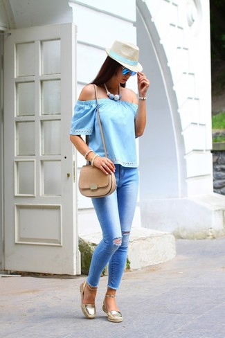 Women's Light Blue Off Shoulder Top, Light Blue Ripped Skinny Jeans, Gold Espadrilles, Tan Suede Crossbody Bag