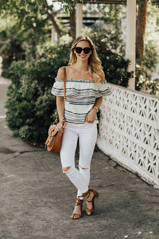 How to wear: grey horizontal striped off shoulder top, white ripped skinny jeans, brown suede heeled sandals, brown leather satchel bag