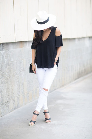 How to wear: black off shoulder top, white ripped skinny jeans, black leather wedge sandals, black leather crossbody bag