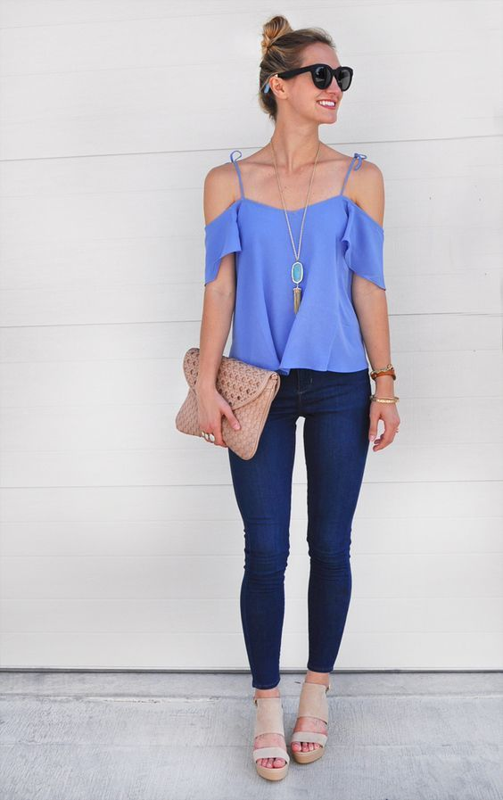 f3386a820514 How to Wear a Dark Purple Off Shoulder Top (3 looks   outfits ...