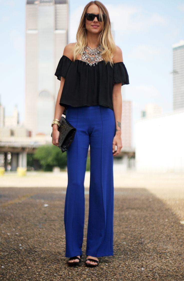 How to Wear Blue Wide Leg Pants (25 looks) | Women's Fashion