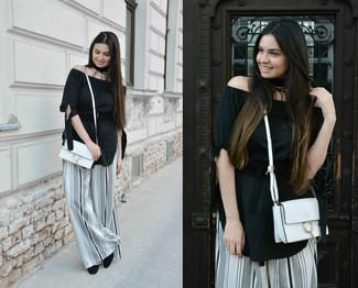 Women's Black Off Shoulder Top, White and Black Vertical Striped Wide Leg Pants, Black Suede Pumps, White Leather Crossbody Bag