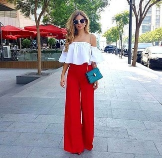 A white off shoulder top and black and white sunglasses are a great outfit formula to have in your arsenal. Add red leather pumps to your look for an instant style upgrade. This one is just perfect if you're crafting an outfit worth 'gramming.