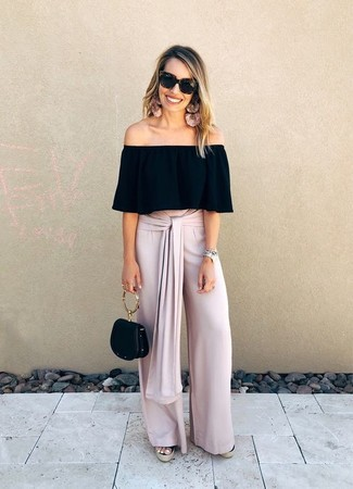 How to wear: black off shoulder top, pink wide leg pants, black canvas wedge sandals, black leather handbag