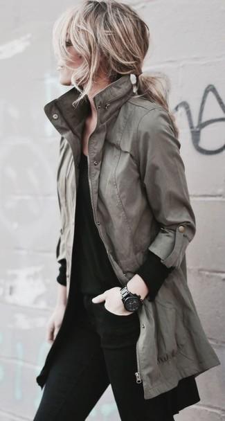How to wear: olive anorak, black long sleeve t-shirt, black skinny jeans, black ceramic watch