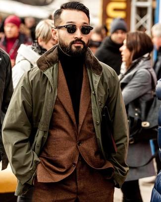 How to wear: olive barn jacket, tobacco wool suit, dark brown turtleneck, black sunglasses